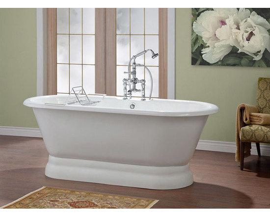 Cheviot Carlton Cast Iron Bathtub - Pedestal bathtub with flat rim and faucet holes