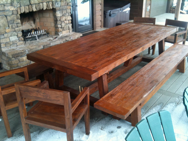 """Custom Reclaimed Teak Patio Dining Table, 4' x 10' x 3"""" thick traditional-outdoor-dining-tables"""