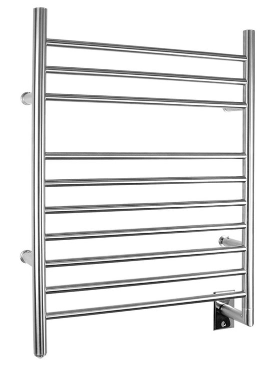 Warmly Yours - WarmlyYours Towel Warmer Infinity Hard-wire - The WarmlyYours Infinity electric towel warmer is manufactured from stainless steel with a beautifully brushed finish and has 10 sleek bars to hang towels or a bathrobe. The hardwired model comes with a programmable timer control.
