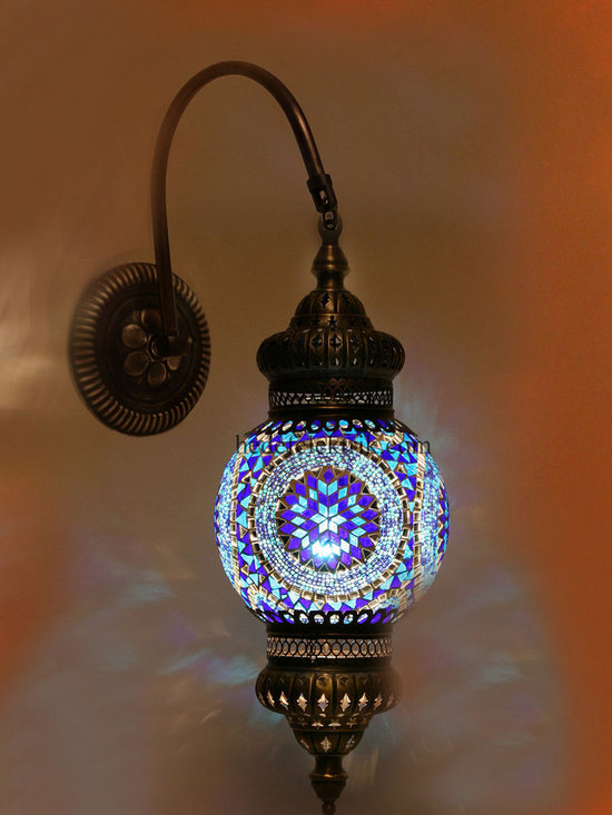 Blue Turkish Style Mosaic Lighting Wall Sconce - Code: HD-20003_07