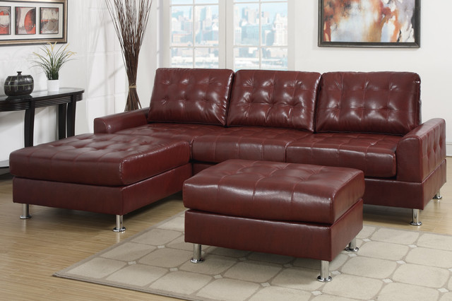 European small tuft burgundy leather sectional sofa for Burgundy chaise