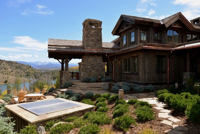 heavy stone and timber frame custom home c lazy u ranch