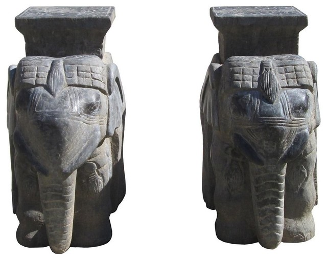 Chinese Hand Carved Solid Stone Elephant Display Stand