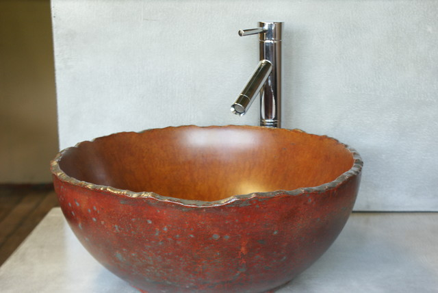 Concrete vessel sink eclectic bathroom sinks