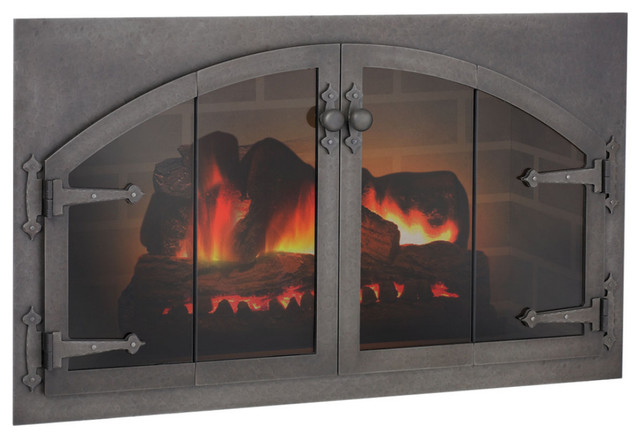 custom blacksmith arch conversion masonry fireplace glass door fireplace accessories by cj 39 s. Black Bedroom Furniture Sets. Home Design Ideas