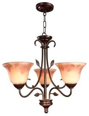 Dale Tiffany Leaf Vine Hand Painted 3-Light Chandelier - 24-watt in. Antique Gol modern-chandeliers