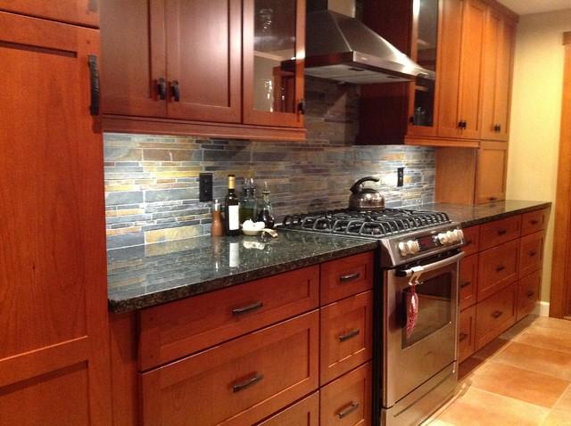 kitchen remodel cherry cabinets slate backsplash