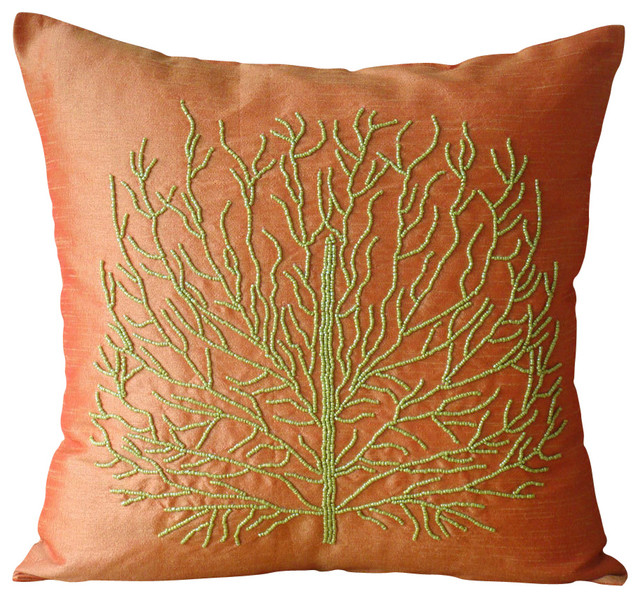 Decorative Pillow Covers 26x26 : Money Tree Decorative Orange Silk Throw Pillow Cover, 26x26 - Contemporary - Bed Pillows - by ...