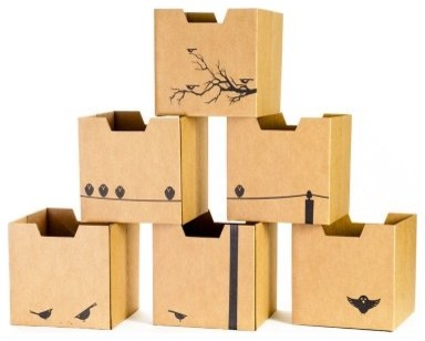 Sprout Bird Print Cardboard Cubby Bins - 6 pack modern-toy-organizers