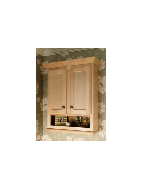 Vanity Storage - A wall cabinet with shelf combines ample storage for bath necessities like washcloths or toilet paper and attractive display options for photos, perfume bottles, or candles.