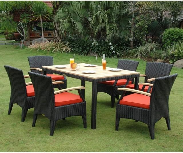 Anderson Teak Bellagio Patio Dining Set Sr 016tb Terracotta Contemporary Patio Furniture And