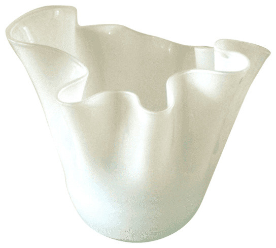 Consigned White Glass Handkerchief Vase Contemporary