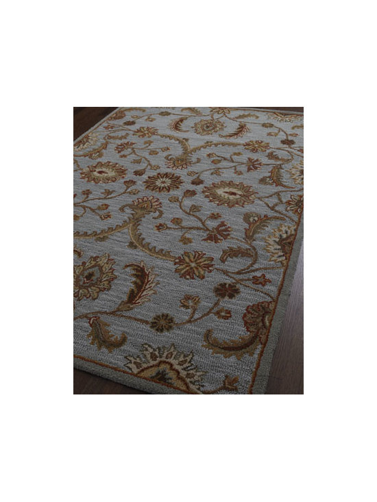 "Horchow - Taylen Rug, 5' x 7'8"" - Handmade rug adorned with a scrolling leaf motif in airy colors centers any room. Hand-tufted wool. Size is approximate. Imported."