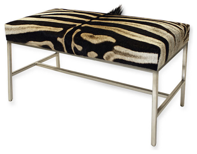 Zebra Hide Bench Eclectic Upholstered Benches Albuquerque By Pfeifer Studio