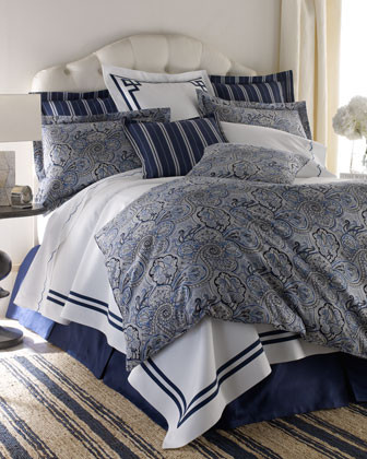 Legacy Home Blue Paddock Shawl Bed Linens Navy Stripe Pillow, 22Sq. traditional-pillowcases-and-shams