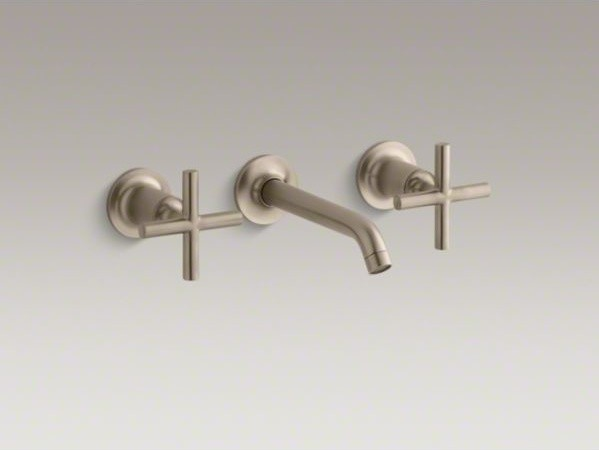 Kohler Purist R Widespread Wall Mount Bathroom Sink Faucet Trim With Cross Hand Contemporary