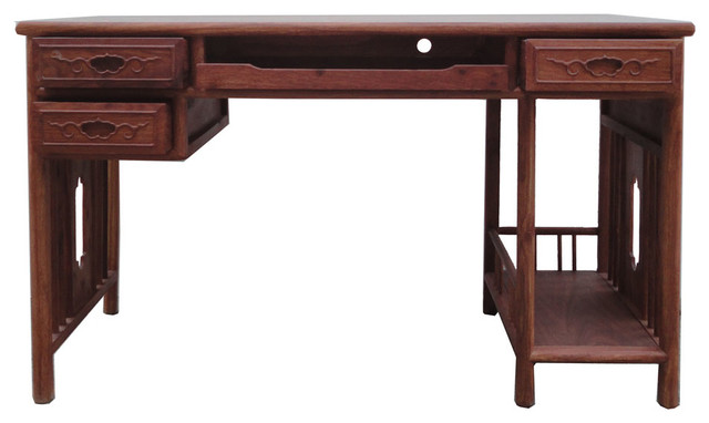 oriental writing desk Delightful hand-carved oriental desk with bamboo leaf relief pattern around the edge of the desk and front of the gallery detachable gallery cons.