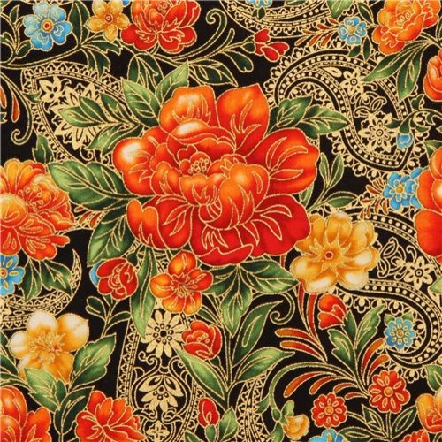Black flower fabric with gold robert kaufman orange fabric by modes group ltd