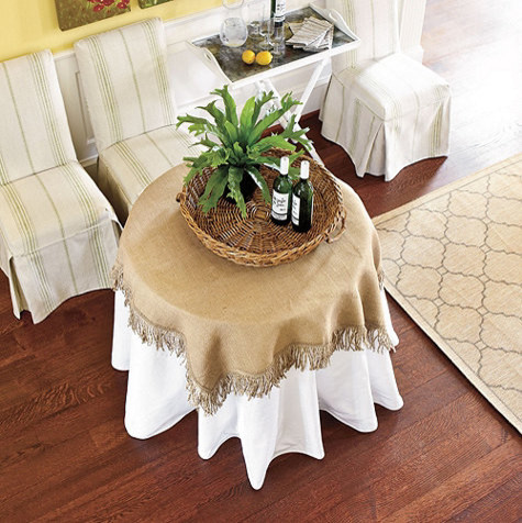 Burlap Folding Fringed Table Topper traditional-changing-tables