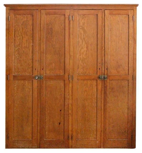 Antique wooden pine high school locker modern storage