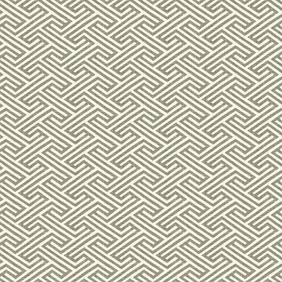 Taupe Geometric Maze Linen Fabric Contemporary
