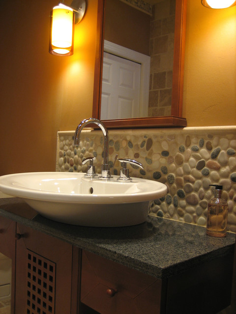 Island Stone Pebble Bathroom Design Modern Tile