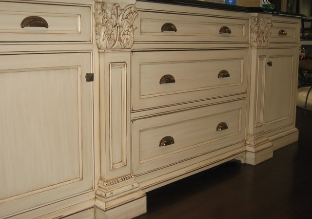 hand painted and distressed kitchen cabinetry traditional kitchen