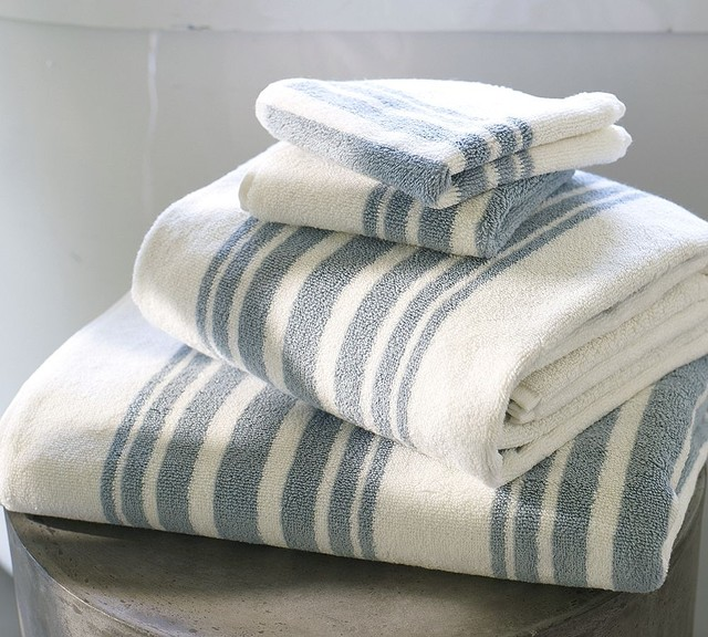 Organic Cotton Belgium Linen Bath Rug: Riviera Stripe Organic Bath Towels