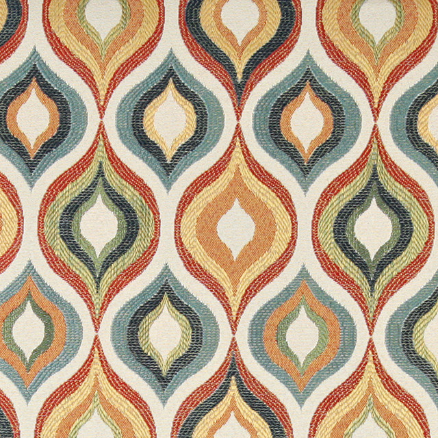 Red, Green, Blue, Orange and Gold, Contemporary Upholstery Fabric By ...