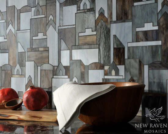 Erin Adams - Cityscape - Cityscape, a water jet glass mosaic shown in Pearl, Lavastone, and Tourmaline, is part of the Erin Adams Collection for New Ravenna Mosaics.