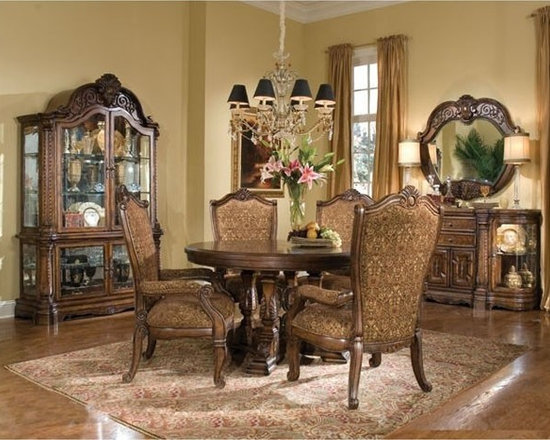 AICO Furniture - Windsor Court 5 Piece Round Dining Table Set in Vintage Fruitwo - Set Includes Dining Table, 4 Arm Chairs