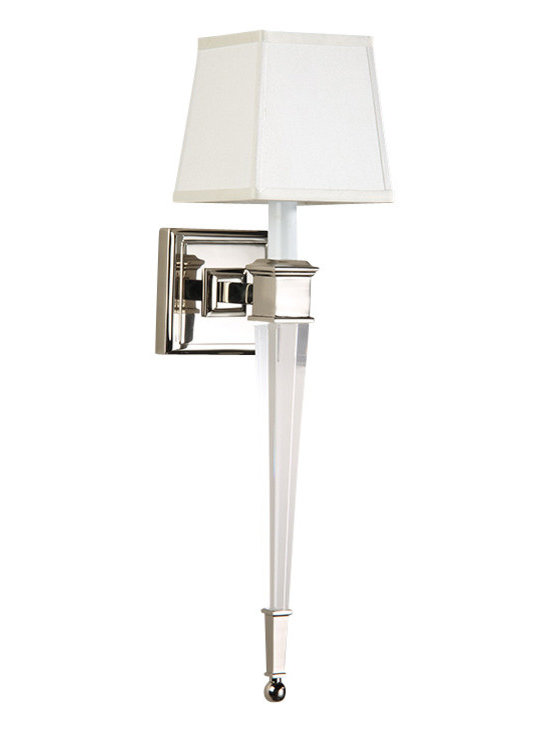 "Inviting Home - Crystal Sconce - Solid crystal sconce in polished nickel finish; 5-1/2""W x 7-1/4""D x 22-1/2""H ; Solid brass and crystal sconce. Crystal sconce has polished nickel finish one light and square hardback fabric shade. Crystal wall sconce is designed for use with candelabra bulbs only. UL approved for indoor use - hardwire application."
