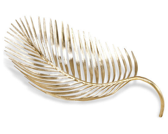 """Kathy Kuo Home - Latania Contemporary Sculptural Centerpiece Decorative Palm Bowl - """"This sleek, leaf-shaped decorative dish flaunts a skeletal form that contributes an air of genuine elegance to your home while paying homage to nature.  Crafted out of solid brass with a natural, shining finish, the Latania Palm Bowl is sure to serve as a unique accent to your home and is a beautiful complement to rich woods, solid-colored marbles and other interior surfaces."""