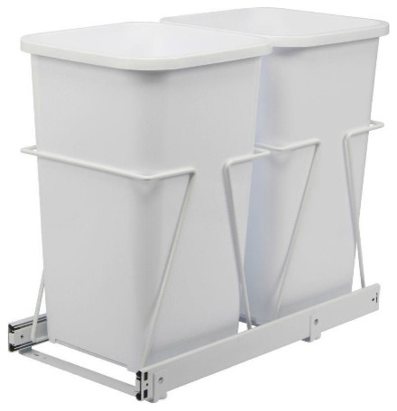 Double 27 qt. White Trash Bins with Pull-Out Steel Cages modern kitchen trash cans