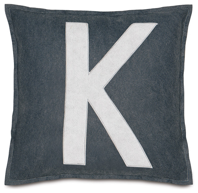 """Leyla's Spell It Out Pillow, Set of 2, """"K"""" contemporary-decorative-pillows"""