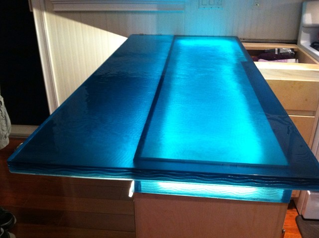 Blue wave glass counter top - Modern - Kitchen - other metro - by ...
