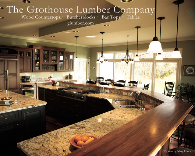 Grothouse Walnut Wood Island Bar Countertop Waterproof Durata Finish traditional-kitchen-countertops