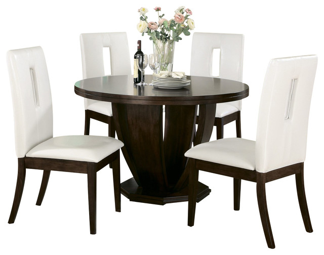 Homelegance Elmhurst 5 Piece Round Dining Room Set In Brown Cherry Traditio