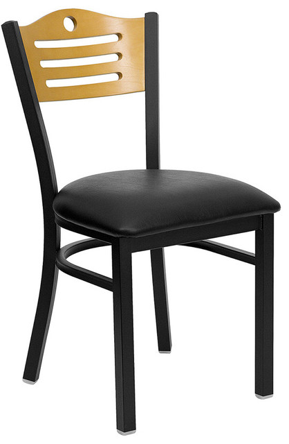 Hercules Series Black Slat Back Metal Restaurant Chair with Natural Wood Back contemporary-dining-chairs