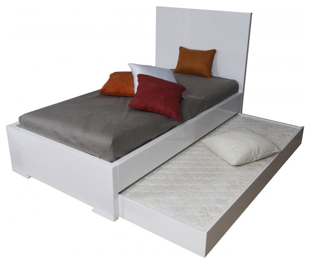 Anna high gloss white twin bed with trundle modern panel beds by