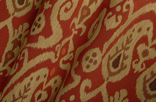 Neopolo Ikat Upholstery Fabric in Red Garnet