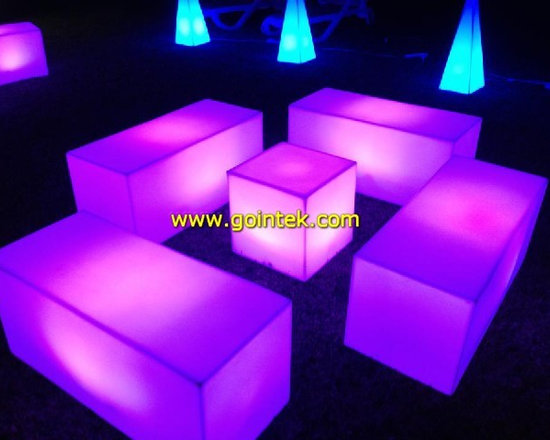 LED glowing bench chairs for events -