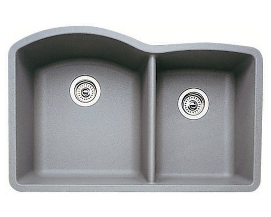 "Blanco - Blanco 440178 Metallic Gray Diamond Diamond 1-3/4 Basin Silgranit II - Product Features:Sink is covered under Blanco s limited lifetime warrantyPremier finishing process - will resist staining, chipping and scratching through every day useDouble basin sink with a 60/40 split provides increased versatility for any taskBlanco sinks feature extremely hygienic, non-porous surfacesConstructed of Blanco s SILGRANIT II material - making it durable and fade resistantInstalls in an undermount configuration - providing a sturdy mount and integrated lookRear drain location increases workspace are in the sink as well as storage space underneathAll hardware needed for installation includedProduct Benefits:SILGRANIT II: Crafted of 80% natural granite, this composite features the look and feel of natural stone and resists scratches, stains, chips and heat. Colored all the way through SILGRANIT II will not fade in direct sunlight and is impervious to household acids and alkalis. Advanced surface technologies ensure that it will be non-porous, easy to clean and an extremely hygienic workspace.Product Specifications:Overall Height: 9-1/2"" (measured from the bottom of sink to the top of the rim)Overall Width: 20-5/6"" (measured from the back outer rim to the front outer rim)Overall Length: 32"" (measured from the left outer rim to the right outer rim)Basin Width (Left): 18-3/5"" (measured from back to inner rim to front inner rim on left bowl)Basin Length (Left): 16-1/2"" (measured from left inner rim to right inner rim on left bowl)Basin Depth (Left): 9-1/2"" (measured from the center of basin to the rim on left bowl)Basin Width (Right): 16-4/5"" (measured from the back inner rim to the front inner rim on right bowl)Basin Length (Right): 12-1/2"" (measured from left inner rim to right inner rim on right bo"