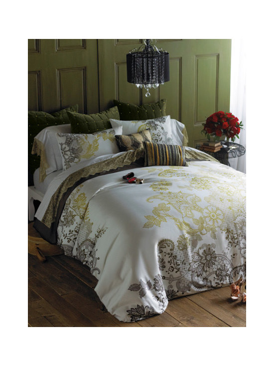 Evita Duvet Set - Our sumptuous Evita duvet set is at once bold, modern and romantic, thanks to the colossal scale of our graphic lace motif in subtle hues of gold and slate on cotton sateen. Duvet and shams reverse to solid slate. Set includes duvet cover and shams.