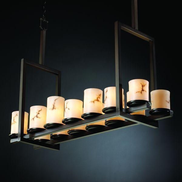 Justice Design FAL-8764-10-DBRZ Dakota 14-Light Bridge Chandelier (Tall) chandeliers
