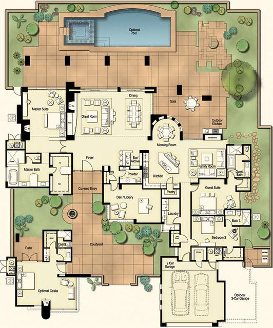 Hacienda floor plan arizona ranch elevation for Southwestern floor plans