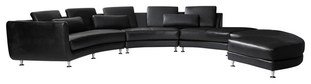 A94 Black Top Grain Italian Leather Sectional Sofa With Ottoman modern-sectional-sofas