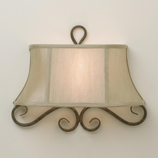 Wall Sconce Half Lamp Shades : Half Shade Iron Scroll Sconce - Lamp Shades - by Shades of Light