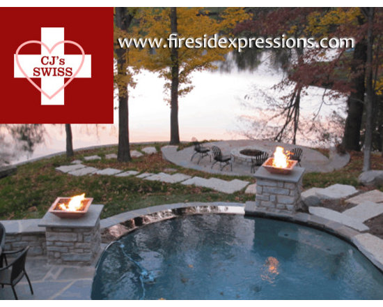 Swiss National Day sale at Fireside Expressions - poolside fire bowls! - Our Swiss National Day sale is still going on - get what you need today, and have it installed before the autumn!  The copper bowls in this photo were $1213 each, but with 5% off of any purchase of $500.00 or more, the more you spend the more you save!
