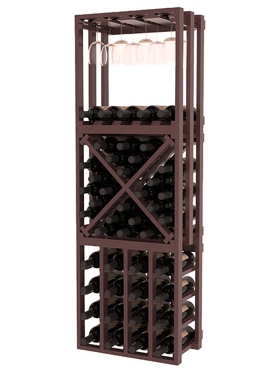 Lattice Stacking Cube - 3 Piece Set in Pine with Walnut Stain + Satin Finish - Designed to stack one on top of the other for space-saving wine storage our stacking cubes are ideal for an expanding collection. This 3-piece set comes with (1) X-Cube, (1) Stemware Cube and (1) 4 Column Cubicle. Use as a stand alone rack in your kitchen or living space or pair with more stacking cubes as your wine collection grows.